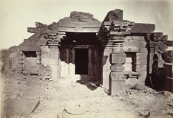 View of interior and entrance to the shrine of the second temple at Dhotra, Buldana District, Berar 1000191991